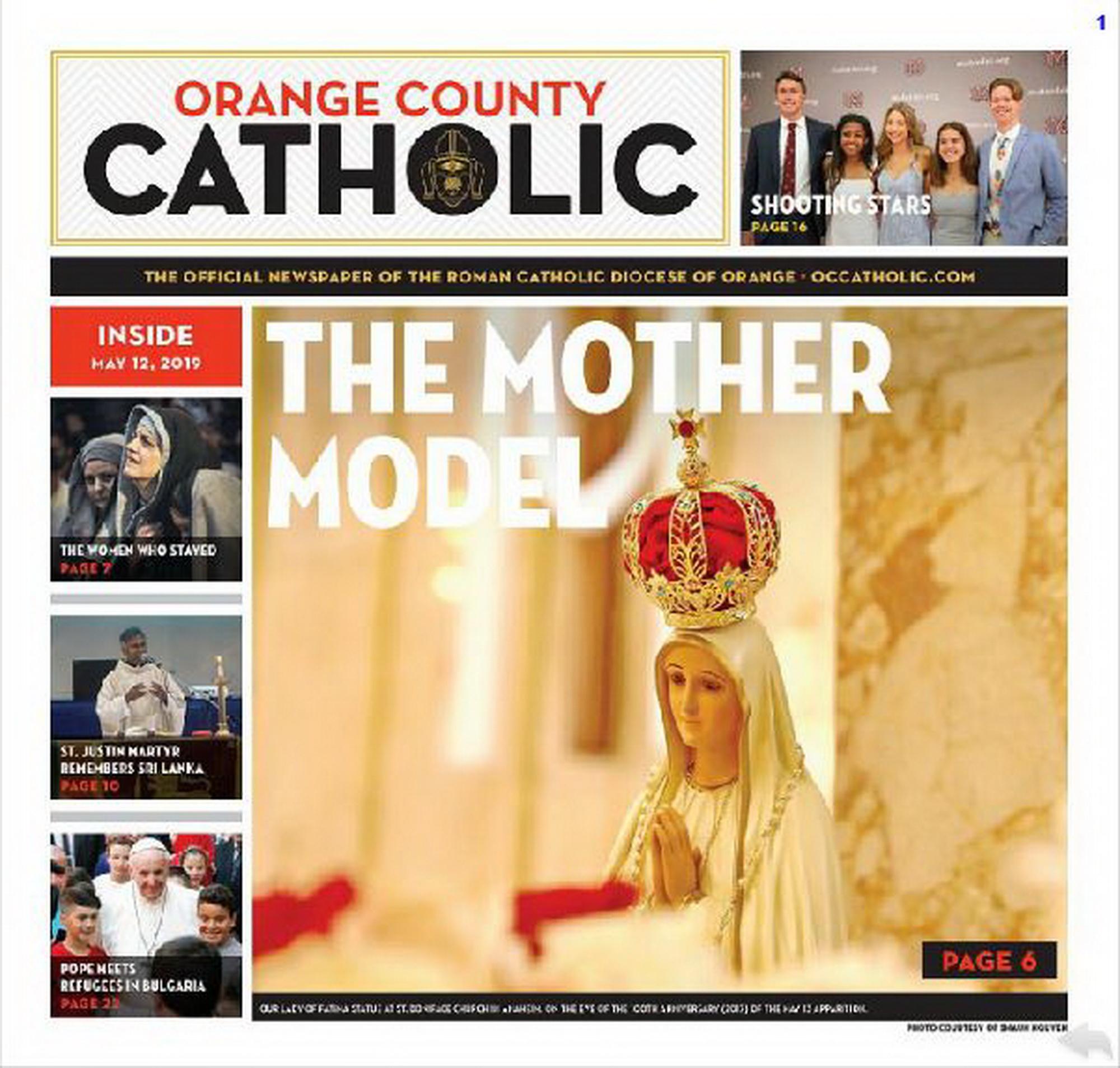 MẸ MARIA TẠI Gx ST BONIFCACE: THÁNG NĂM CỦA MẸ đăng trên tờ báo ORANGE COUNTY CATHOLIC