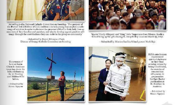 """CĐ ANAHEIM ST BONIFACE đuợc GHI NHẬN QUA HÌNH ẢNH TỔNG KẾT năm 2019 trong tờ báo """"OC CATHOLIC"""" của GP ORANGE"""