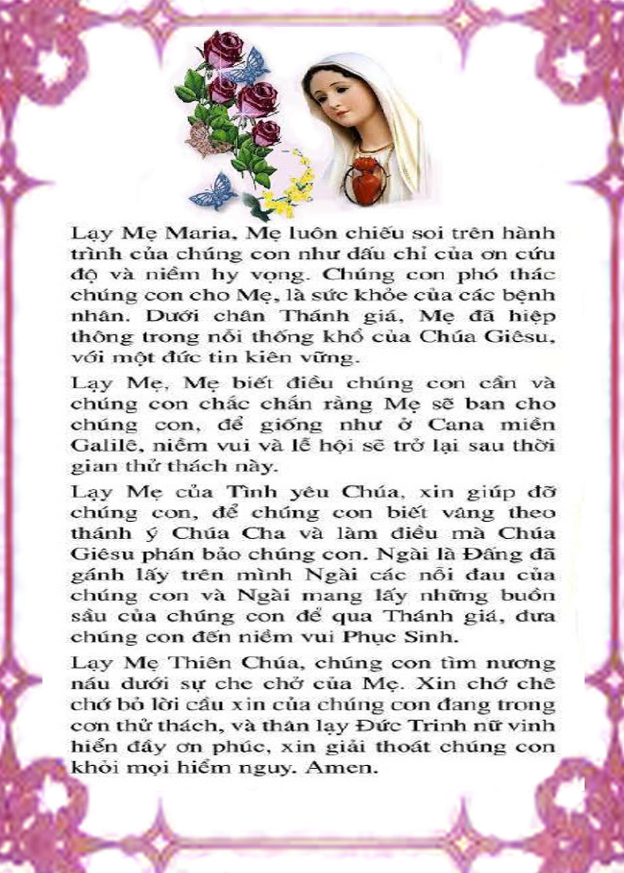 KINH CẦU NGUYỆN ĐỨC MẸ MARIA CỨU GIÚP THẾ GIỚI THOÁT NẠN DỊCH BỆNH CORONA
